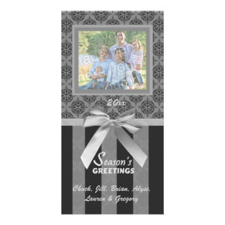Black And Gray Damask Silver Ribbon Photo Card