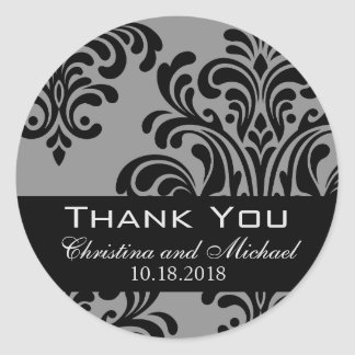Black and Gray Damask Wedding Thank You Classic Round Sticker