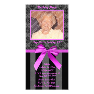 Black And Gray Damask With Hot Pink Ribbon Card