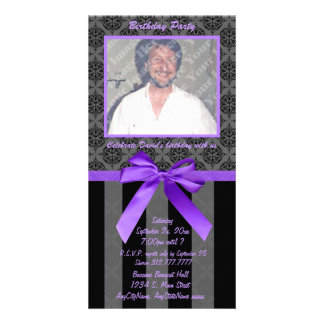 Black And Gray Damask With Purple Ribbon Photo Card