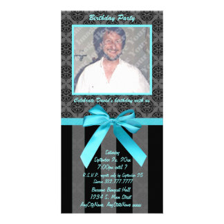 Black And Gray Damask With Teal Ribbon Card
