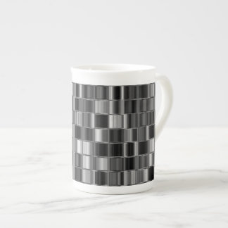 Black and Gray Digital Mosaic Bone China Mug