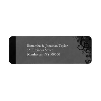 Black and Gray Floral Small Return Address Labels