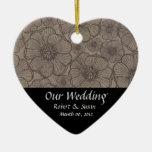 Black and Gray Floral Wedding Favor Keepsake Christmas Tree Ornament