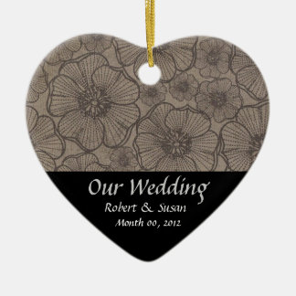 Black and Gray Floral Wedding Favor Keepsake Double-Sided Heart Ceramic Christmas Ornament