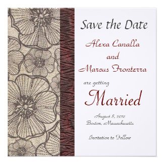 Black and Gray Floral Wedding Save the Date Announ Invitations