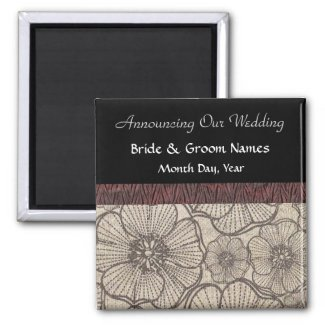 Black and Gray Floral Wedding Save the Date Magnet