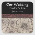 Black and Gray Floral Wedding Stickers