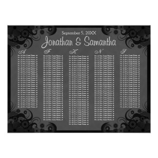Black and Gray Floral Wedding Table Seating Charts