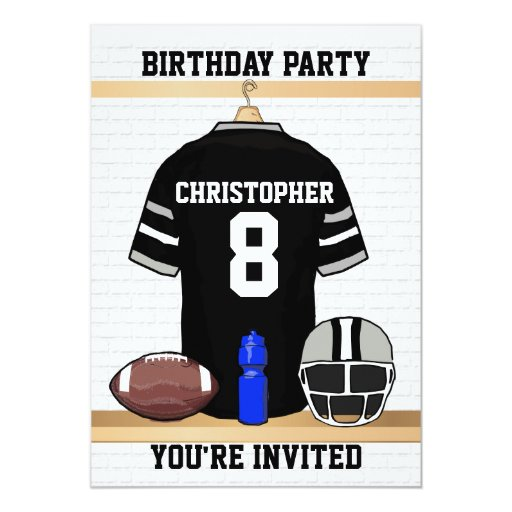 Black And Gray Football Jersey Birthday Party Card