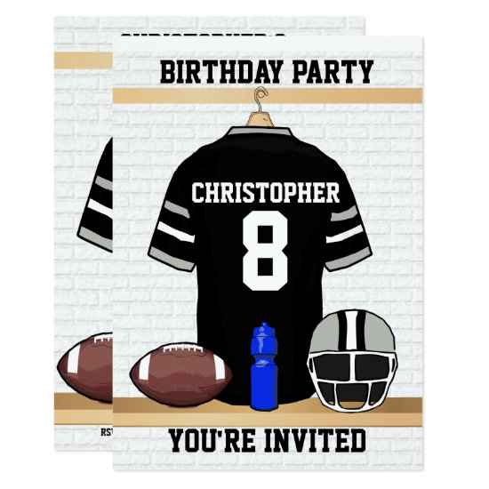 Black and Gray Football Jersey Birthday Party Invitation