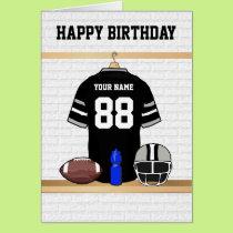 Black and Gray Football Jersey Happy Birthday Card