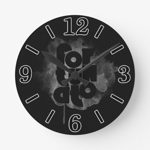 black and gray fortunato round wall clocks zazzle