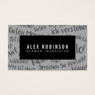 Black and gray german translator business card