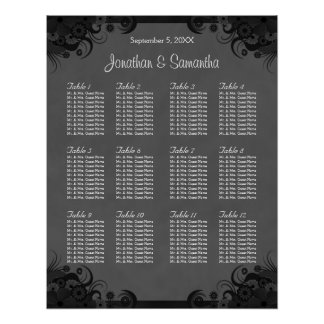 Black and Gray Goth Wedding 12 Table Seating Chart Poster