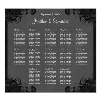Black and Gray Goth Wedding 13 Table Seating Chart