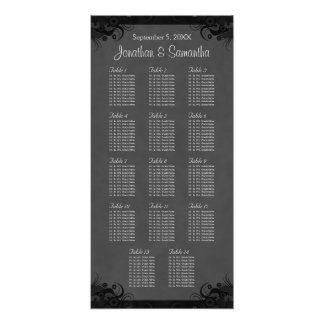 Black and Gray Goth Wedding 14 Table Seating Chart
