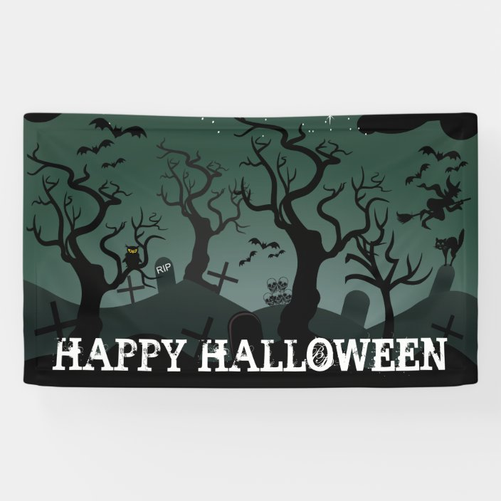 Black And Gray Graveyard Spooky Trees Halloween Banner Zazzle Com