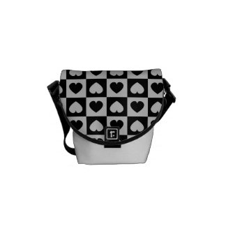 Black and Gray Heart Design Courier Bag