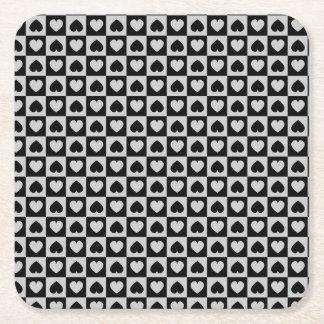 Black and Gray Heart Design Square Paper Coaster
