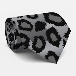 Black and Gray Jaguar Print Neck Tie