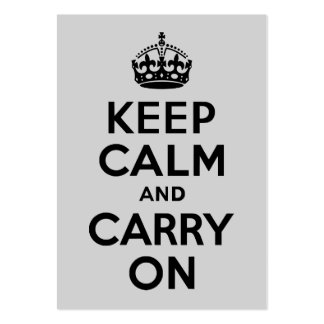 Black and Gray Keep Calm and Carry On Business Cards