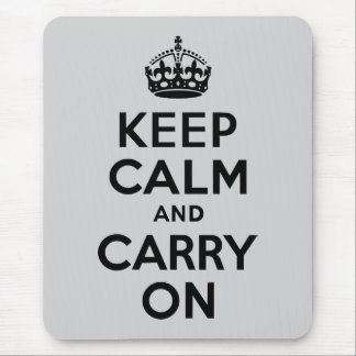 Black and Gray Keep Calm and Carry On Mousepads