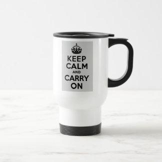 Black and Gray Keep Calm and Carry On Travel Mug