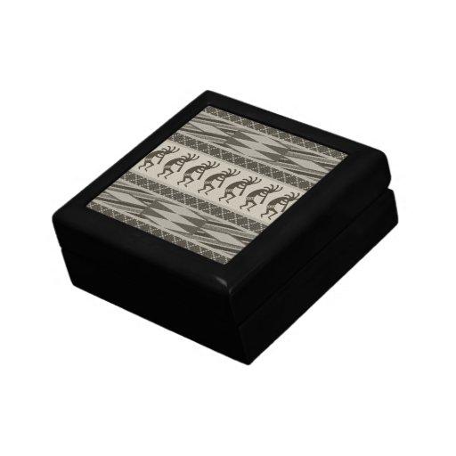 Black And Gray Kokopelli Aztec Pattern Gift Box