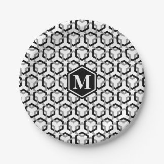 Black and Gray Linked Hexes Paper Plate 7 Inch Paper Plate