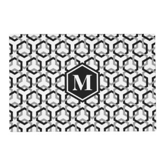 Black and Gray Linked Hexes Placemat
