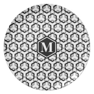 Black and Gray Linked Hexes Plate