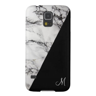 Black And Gray Marble Stone Texture Monogram Galaxy S5 Case