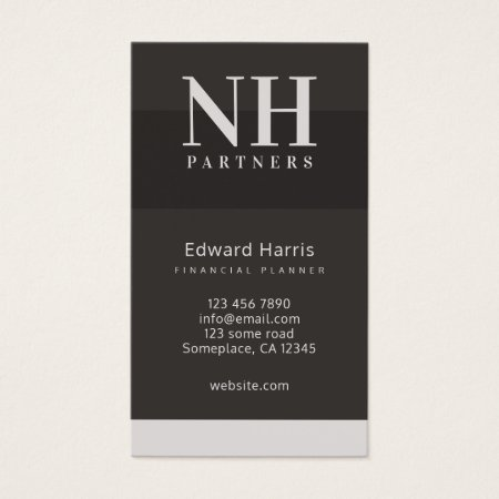 Black and Grey Monogram Financial Business Card Templates