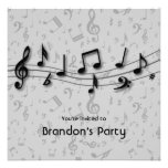 Black and Gray Music Notes Invitations square