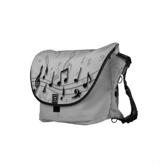 Black and Gray Musical Notes Courier Bag