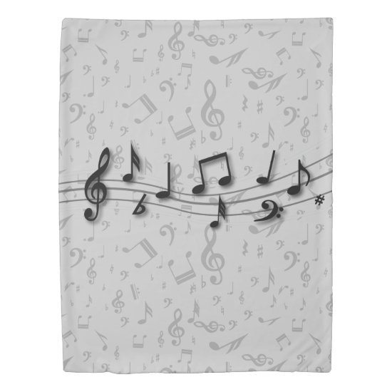 black and gray musical notes duvet cover