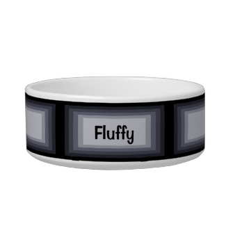 Black and Gray Ombre Rectangles Name Pet Bowl