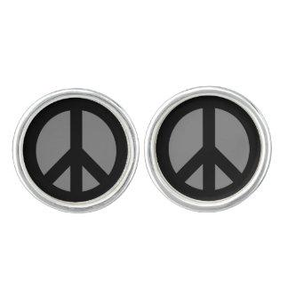 Black and Gray Peace Symbol Cufflinks