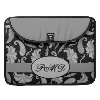 Black and Gray Pewter Art Deco Paisley Monogram Sleeve For MacBooks
