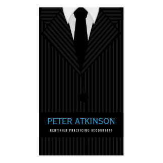 Black and Gray Pinstripe Suit Vertical Accountant Double-Sided Standard Business Cards (Pack Of 100)