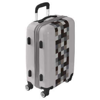 Black and Gray Pixelated Pattern Luggage