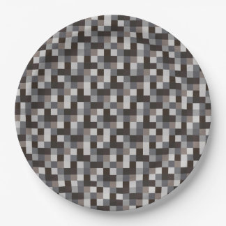 Black and Gray Pixelated Pattern Paper Plate