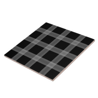 Black And Gray Plaid Pattern Ceramic Tile