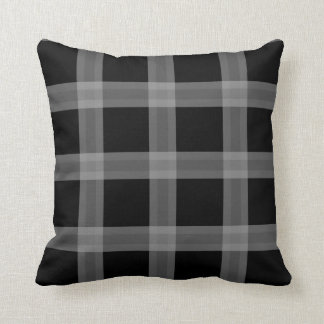 Black And Gray Plaid Pattern Sofa Throw Pillow