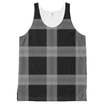 Black And Gray Plaid Pattern Tank Top