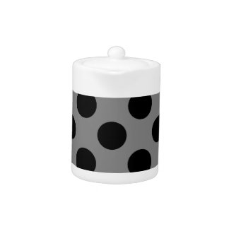 Black and Gray Polkadots Teapot