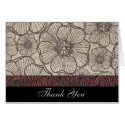 Black and Gray Poppy Flowers Thank You Card