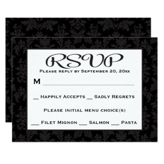 Black And Gray RSVP Damask Floral Wedding / Party Card
