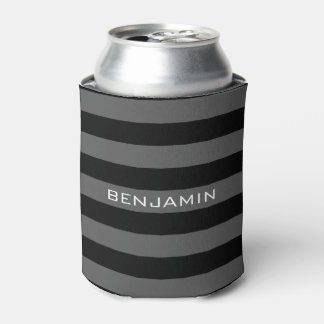 Black and Gray Rugby Stripes with Custom Name Can Cooler